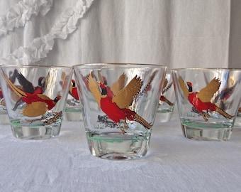 Vintage Pheasant Glasses Set of Eight Whiskey Tumblers Ring Necked Pheasant Man Cave Barware 1960s