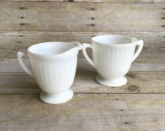 Vintage Cream and Sugar Set - Milkglass - Milk Glass
