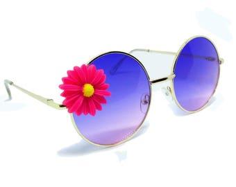 Round Aviator SUNGLASSES with Hot Pink/Yellow Daisy Embellishment