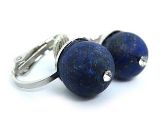 Lapis Lazuli Rhinestone Centre Gemstone Clip On Earrings - Non-Pierced Ears