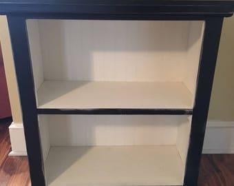 Bookcase black white distressed wood READY TO SHIP