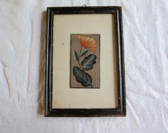 Vintage Botanical Framed Painting From India Orange Flower Unknown Painter