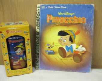 Pinocchio Collector Set of Walt Disney Little Golden Book and Collector Series Burger King and Coca-Cola Glass in Original Box Retro Fun Set