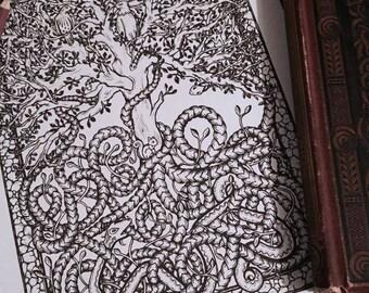 Adult Coloring Page Yggdrasil Original Tree Nature Art Norse Mythology