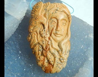 Carved Picture Jasper Mermaid And Bird Gemstone Pendant Bead,60x35x8mm,25.5g(e0965)
