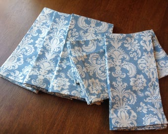 Cloth Dinner Napkins, Cotton Napkins, Blue Fleur De Lis, Napkins, Set of 6 Napkins,  Mitered Corners