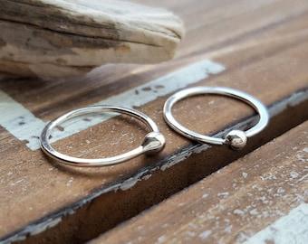 Ball Hoops, Argentium Silver 18 gauge Earrings, 12mm ID Small Sleeper Hoops, Artisan Jewelry