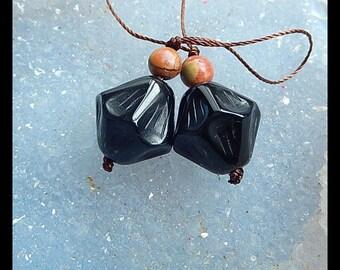 Multi-Color Picasso Jasper,Obsidian Intarsia Gemstone Earring Bead,16x15mm,6x6mm,8.3g