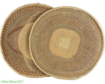 2 Tonga Binga Baskets Zimbabwe Pair African Art 21 Inch 112278
