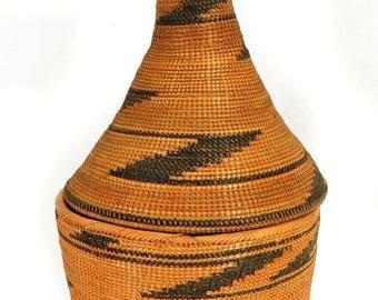 Tutsi Basket Lidded Tight Weave Rwanda Old African Art 68186