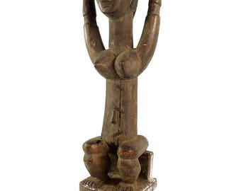 Attye Seated Female with Barrel Lagoon African Art 21 Inch 116930