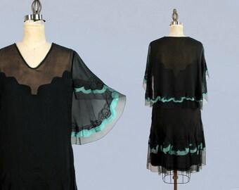 1920s Dress / 20s Black Silk Chiffon and Mesh Net / Capelet / Deco Illusion Neck / Embroidery / Trim