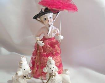 Vintage Arnart Figurine Lady with Parasol walking Poodles