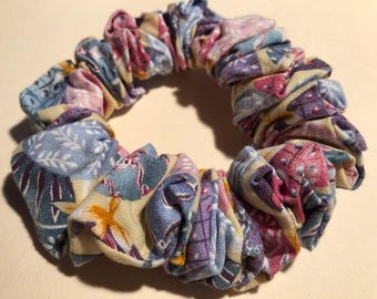 Colorful Decorated Easter Eggs on Pale Yellow Cotton Hair Scrunchie