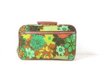 mini 60s vintage FLORAL green LUGGAGE travel carry on BAG