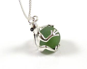 Locket Necklace, Sea Glass Marble Locket Necklace,  READY TO SHIP, Sea Glass Necklace, Frog Jewellery, The Strandline
