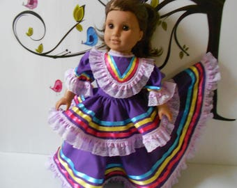 """Mexican folklorico Jalisco dress fits American Girl and similar 18"""" dolls handmade in USA"""