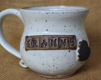 Granny pottery mug, gift for grandmother, Stoneware wheel thrown