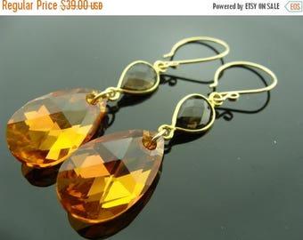 Smoky Quartz Orange Swarovski Crystal 14K Gold Filled Earrings