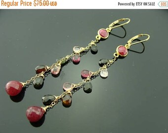 Ruby and Watermelon Tourmaline Cascade 14K Gld Filled Leverback Earrings
