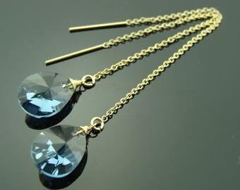 Blue Swarovski Crystal 14K Gold Filled Ear Threads