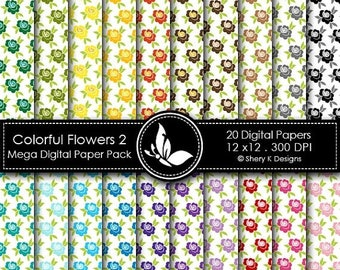 40% off Colorful Flowers 2 Mega Paper Pack - 20 Printable Digital papers - 12 x12 - 300 DPI