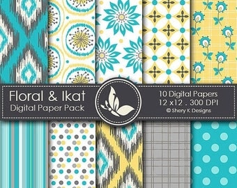 40% off Floral & Ikat - 10 Digital papers - 12 x12 - 300 DPI