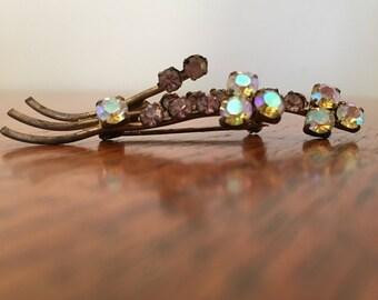 Vintage Austrian Geometric Rhinestone Pin or Brooch, pink and clear rhinestones, simple floral brooch