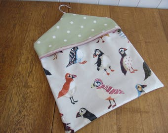 Puffin print and spotty green PVC oilcloth type fabric peg bag