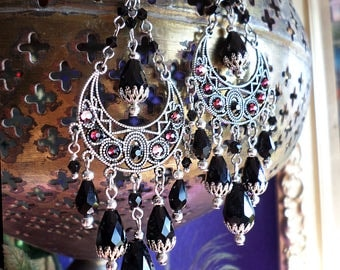 """Black Crystal Antique Silver Dangle Chandelier Earrings, Swarovski Decorated Crescent Moons, Wiccan Witch, Boho Gypsy Bohemian,  4 1/4"""" Long"""