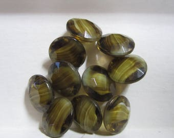 Vintage Slag Glass Buttons Lot of 10 Green