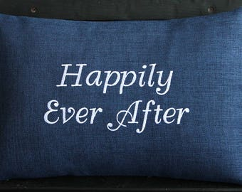 Indoor Outdoor Pillow Cover in Indigo Navy Blue | Happily Ever After | Monogrammed | Gift | Embroidered | Wedding | Shower | Anniversary