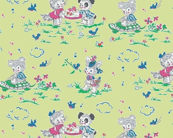 Strawberry Biscuit Play Date Green By Elea Lutz For Penny Lane Fabrics 1 Yard