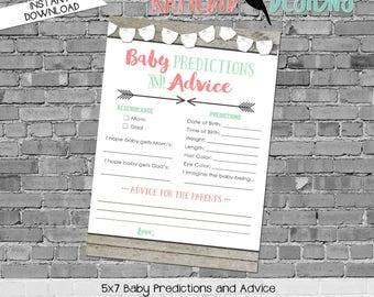 baby shower games printable baby predictions stats advice 1417 wood diapers arrows rustic digital gender sprinkle rustic chic coral mint