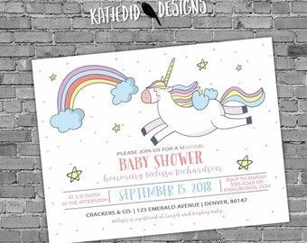 Unicorn birthday invitation baby shower confetti rainbow hearts little girl sprinkle gender neutral reveal 1st first   2007 Katiedid Designs