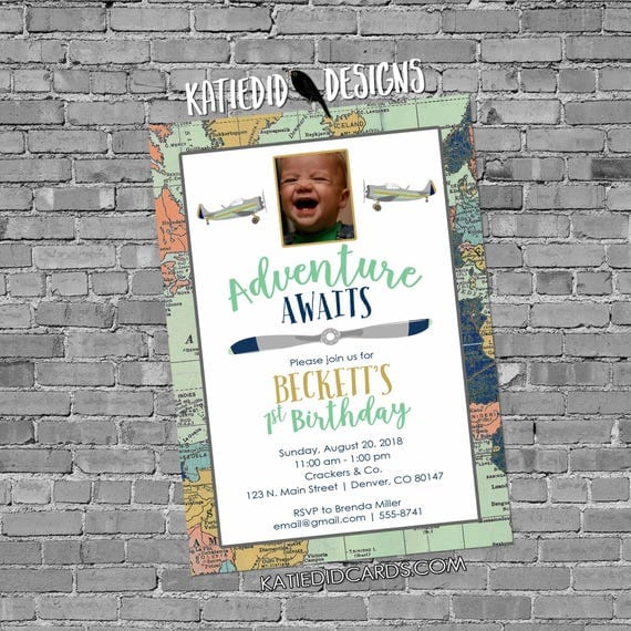 oh the places invitation | little boy 1st birthday | first communion | vintage airplane baby shower | sonogram pregnancy | 12124 Katiedid