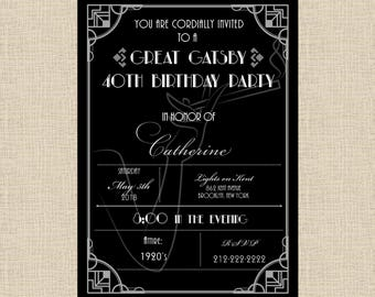 Printable Invitation Black and Silver Great Gatsby/Art Deco/Roaring Twenties  Invitation for Sweet Sixteen, Birthday, Shower