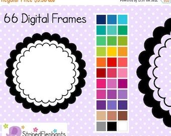 40% OFF SALE Triple Scalloped Digital Frames - Clip Art Frames - Instant Download - Commercial Use