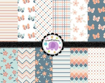 40% OFF SALE Flower and Butterfly Papers Digital Paper, Pretty Digital Scrapbook Papers, Printable Paper, Instant Download, Commercial Use