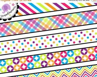 40% OFF SALE Rainbow Digital Ribbon Clipart - Digital Scrapbook Embelishment - Instant Download - Commercial Use