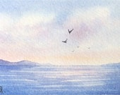 Original watercolor ACEO painting - Fleeing the bay