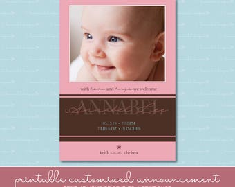 Baby Girl Pink Stripe Birth Announcement with Photo