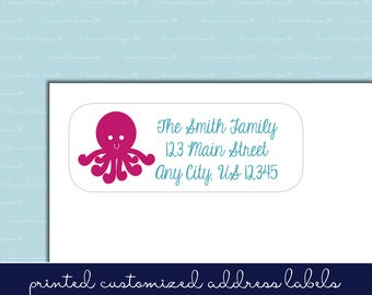 Under the Sea - Octopus - Return Address Label