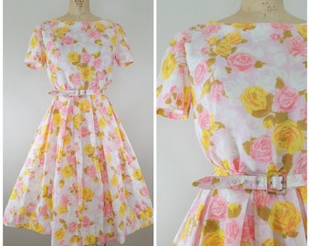 Vintage 1950s 1960s Dress / Pink and Yellow Floral / Roses Dress / Small Medium