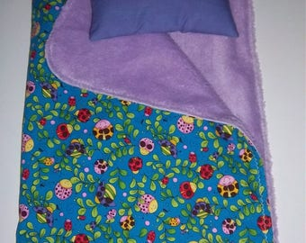 SPECIAL - Baby Doll Bedding Set (5 dollars plus shipping) - coverlet/pillow - brightly colored in shades of pink, blue