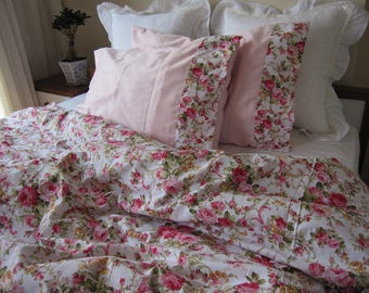 shabby chic Bedding Red green Pink roses floral print Twin /Queen/Cal King super oversized king duvet cover - romantic bedroom Nurdanceyiz