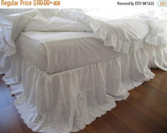 Sale Lace bed skirt bedskirt - White eyelet lace cotton Dust ruffle - QUEEN KING Bed skirt scalloped edge - shabby chic romantic elegant bed