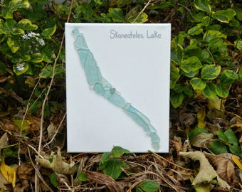 Skaneateles Lake, Beach glass canvas art, Finger lakes gifts, home decor, beach glass, handmade canvas art, gifts for couples, 16 x 20 large