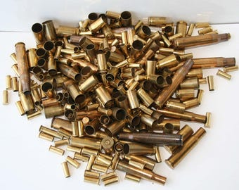 Freeship -2 Lbs. Spent Brass Bullet Casings -Mixed CaliberSteampunk-Altered art- Bullet Jewelryy