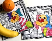 Dog Lovers Gift -  Quilted Puppy Mug Rugs - Set of 2 Quilts - Bright Colors - BFF Travel Gift - Rome and Rio - Quilt Placemats - Fiber Art